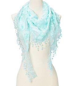Look what I found on #zulily! Light Blue Rosette & Crochet-Trim Silk-Blend Scarf #zulilyfinds