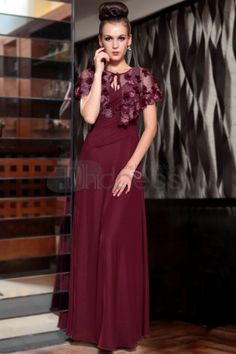 Purplish Red Elegant Long Formal Evening Gowns With Wraps 30830