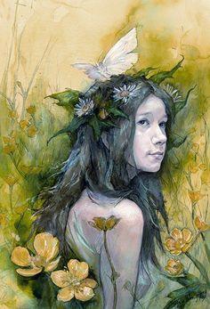 "Summer Maiden : Julia Jeffrey : ""... in golden reverie, amid the Buttercups, the Summer Maiden dreams."""