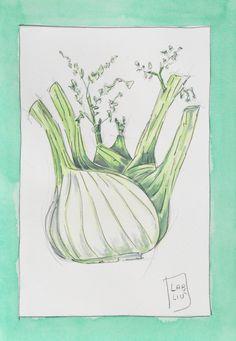 Finocchio illustrazione acquerello verdure. Fennel illustration watercolor vegetables di LabLiu su Etsy