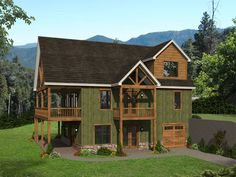 062H-0274: Rustic Mountain House Plan with Finished Lower Level Mountain House Plans, Mountain View, Mountain Home Exterior, Prairie Style Houses, Floor Plan Drawing, Stair Detail, Floor Framing, Large Family Rooms, Construction Cost