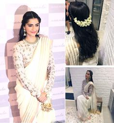 Sonam at anavila misra store Saree Hairstyles, Open Hairstyles, Ethnic Hairstyles, Bride Hairstyles, Sonam Kapoor Hairstyles, Engagement Hairstyles, Indian Wedding Hairstyles, Traditional Hairstyle, Bridal Hairdo