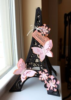 I recently had a custom order for a modified version of my Eiffel Tower to use as a cake topper. This is the original Eiffel Tower . Cricut Cuttlebug, Cricut Cartridges, Cricut Cards, Paper Tower, Deco Paris, Paris Birthday, Spa Birthday, Birthday Parties, Paris Summer