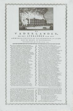 Anonymous | Brand in 's Lands Zeemagazijn, 1791, Anonymous, 1791 | Blad met een voorstelling van de grote brand in 's Lands Zeemagazijn te Amsterdam op 6 juli 1791, gezien vanaf het IJ. Op het blad een vers in twee kolommen door 'Amsterdammer'. In decorative rand van fileten.