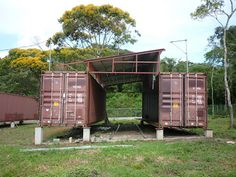 A family built their home out of 2 x 40 ft ISBU shipping containers in Panama.
