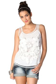Floral Mesh Tank in Off White by missme