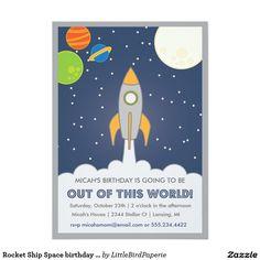 Rocket Ship Space birthday invite