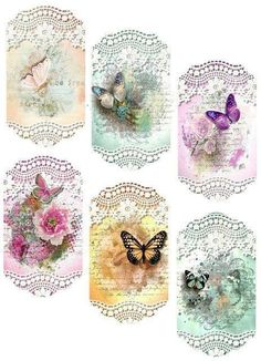 Rice Paper for Decoupage, Scrapbook Sheet, Craft Paper Birds and Blue Butterfly Vintage Tags, Images Vintage, Vintage Labels, Vintage Prints, Vintage Pictures, Decoupage Vintage, Vintage Paper, Printable Tags, Printable Paper