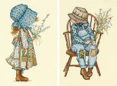 """Holly Hobbie Holly And The Suitor Counted Cross Stitch Kit-4-3/4""""X8-1/2"""" & 6""""X8-1/4"""" 28 Count"""