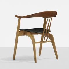 Arne Hovmand-Olsen; Oak, Teak and Leather Armchair for Mogens Kold, c1955.