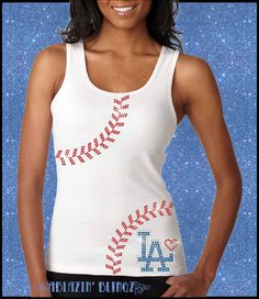 Hey, I found this really awesome Etsy listing at https://www.etsy.com/listing/179813661/la-dodgers-rhinestone-tank-with-number
