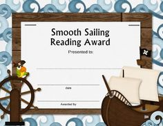 This is a pdf file, easy to print.  This will go right along with the other pirate themed items that I have for sale.  This is a reading award, but...