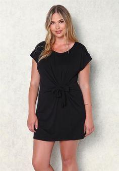 Plus size tie waist T shirt Dress Black Pinterest