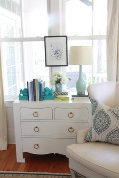 Simply Seleta - Bungalow 5 Jacqui 4-Drawer Chest, powder blue lamp, turquoise blue foo ...