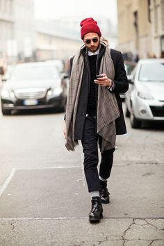 Opt for a charcoal overcoat and charcoal wool dress pants for a sharp, fashionable look. Feeling brave? Complete your look with black leather boots.  Shop this look for $341:  http://lookastic.com/men/looks/beanie-sunglasses-longsleeve-shirt-crew-neck-sweater-scarf-overcoat-dress-pants-socks-boots/4695  — Red Beanie  — Dark Brown Sunglasses  — White Longsleeve Shirt  — Black Crew-neck Sweater  — Grey Check Scarf  — Charcoal Overcoat  — Charcoal Wool Dress Pants  — Grey Wool Socks  — Black…