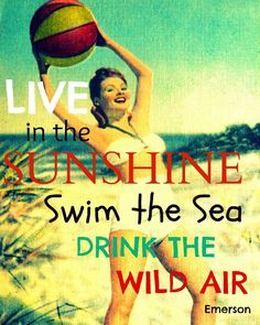 Inspirational Print Live in the Sunshine Photography Typography Emerson Beach House colors aqua red vintage nostalgia vacation. $22.00, via Etsy.
