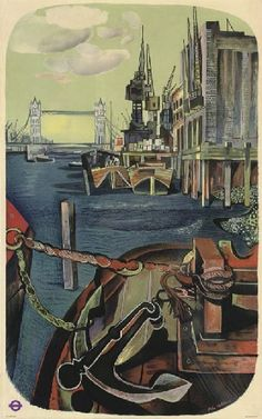 John  Minton vintage London Transport poster the River Thames 1950