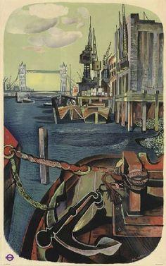 John  Minton vintage London Transport poster the River Thames 1950