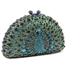 Donalworld Women Crystal Handbag Peacock Clutch Evening Bag Blue -- Be sure to check out this awesome product.