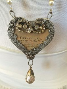 LG. Soldered Glass Heart Necklace with Tiffany & by TheRustyOwls, $130.00