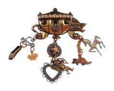 Cinderella Rhinestone Carriage Charm Brooch  Ooak by GoldDa, $49.00