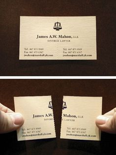 Visitenkarte eines amerikanischen Scheidungsanwalts mit Trennvorrichtung
