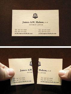 La tarjeta de un abogado experto en divorcios es una idea de la agencia John St. de Toronto, Canadá,