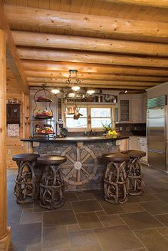 Massive round purlins overhead in this great log home kitchen