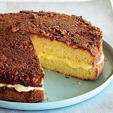 Custard-filled Walnut-topped Cake