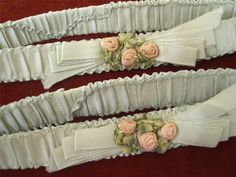 Pr HM Antique Vtg 20s FLAPPER SILK RIBBONWORK FLOWER TRIM WEDDING BRIDAL GARTERS