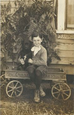 ADORABLE LITTLE BOY POSES WITH HIS COASTER EXPRESS WAGON & CUTE DOG-VINTAGE RPPC