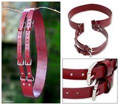 Leather belt - Modern Red - NOVICA