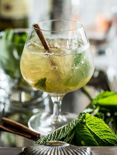 It's national bourbon month! Celebrate with a Cinna-Mint Julep - bourbon, cinnamon simple syrup, lime, & mint #cocktails