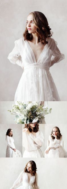 Collection of photos of the Sovay silk organza wedding dress with deep V neckline, poet sleeves, pearl buttons and a pleated skirt.