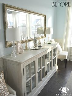 Restoration Hardware French Casement sideboard buffet in blue dining room- BEFORE