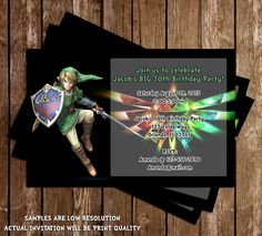 Legend of zelda invitation link zelda by ninelivesnotenough legend of zelda birthday party invitation 15 pack stopboris Choice Image