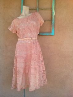 Vintage 1950s Dress 50s Lace Party Dress Peach Plus Size B44 W35 201620 by bycinbyhand on Etsy https://www.etsy.com/listing/264010038/vintage-1950s-dress-50s-lace-party-dress