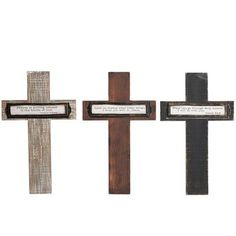 """Wood+Wall+Cross+Assorted+-+Priced+individually,+choose+color.+Size:+15""""+ht;+9.5""""+width,+approx+0.5""""+thick+Material:+Wood+Color:+Black,+Brown,+Natural+with+White+Washed+Look+Crosses+"""