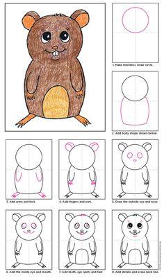 Cute animal alert! How to draw a Cartoon Hamster. #artprojectsforkids #hamster #cartoondrawing