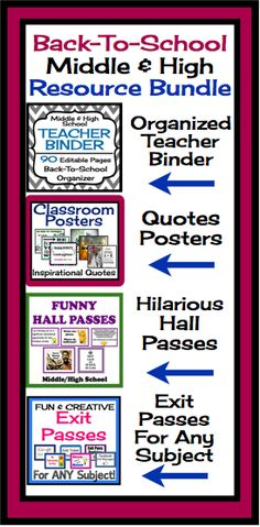 Back To School Middle High Resource Bundle: Organizer, Posters & Printables! #backtoschool #teacher #organization
