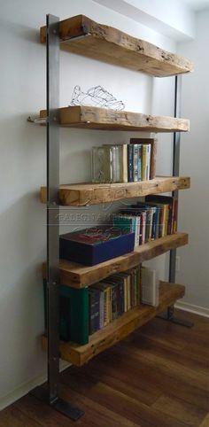 Legno Massello : Libreria con top il legno massello e struttura in ferro
