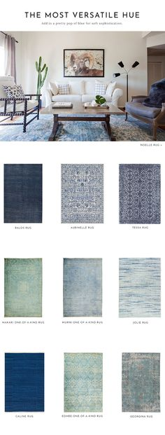 The Most Versatile Hue : BLUE! Shop our favorite blue rugs with Lulu and Georgia! #LANDGATHOME