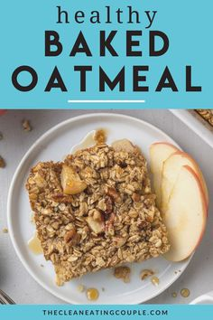This Healthy Baked Oatmeal is perfect for breakfast! Learn how to make the best baked apple oatmeal that is easy to make and delicious! Breakfast On A Budget, Clean Eating Breakfast, Clean Eating Diet, Healthy Muffins, Healthy Breakfast Recipes, Brunch Recipes, Baked Apple Oatmeal, Baked Apples, Easy Clean Eating Recipes