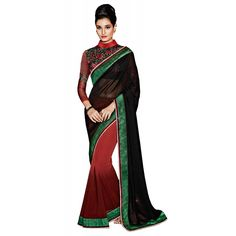 Black and Brown Georgette Designer #Saree With Blouse- $47.10