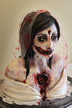 Zombie Bride wedding cake...yes, this is a CAKE. Looks waaaay too realistic to be edible, but it is!