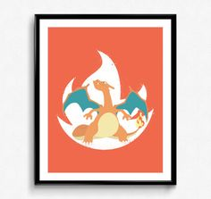 Super Smash Bros  Charizard Spray Art Poster  by PixelBitHero