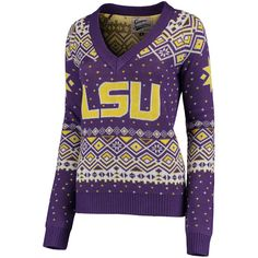 09a08598d228 Women s Purple LSU Tigers Retro Holiday Ugly Sweater