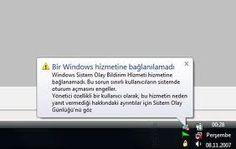Windows Sistem Olay Bildirim Hizmeti hizmetine bağlanamadı Sorunu Çözümü