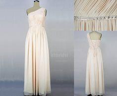 champagne bridesmaid dress chiffon bridesmaid dress by okbridal, $119.00... I like this one