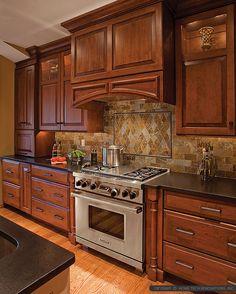 Brown Cabinet Black Countertop brown gray Subway slate Backsplash Tile